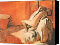 Wash Pastels Canvas Prints - After the Bath Canvas Print by Edgar Degas