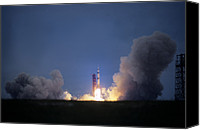 Success Photo Canvas Prints - Apollo 11 Begins Its Flight To The Moon Canvas Print by O. Louis Mazzatenta