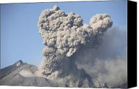 Eruption Canvas Prints - Ash Cloud Following Explosive Vulcanian Canvas Print by Richard Roscoe