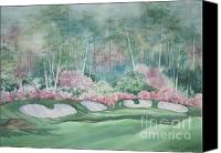 Augusta Golf Painting Canvas Prints - Augusta National 13th Hole Canvas Print by Deborah Ronglien
