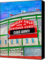Baseball Painting Canvas Prints - Blue Skies Over Wrigley Canvas Print by Janet Immordino