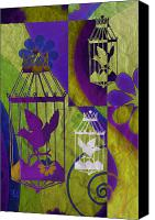 Found Paper Canvas Prints - 3 Caged Birds Canvas Print by Angelina Vick