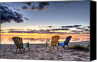 Door County Canvas Prints - 3 Chairs Sunrise Canvas Print by Scott Norris