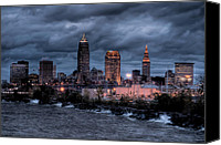 Lake Erie Canvas Prints - Cleveland Skyline at Dusk from Edgewater Park Canvas Print by At Lands End Photography