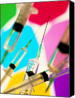 Hypodermic Canvas Prints - Collection Of Hypodermic Syringes Canvas Print by Tek Image