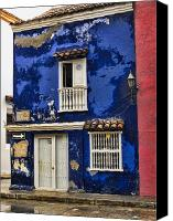 Unesco Canvas Prints - Colonial buildings in old Cartagena Colombia Canvas Print by David Smith