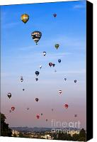 Balloon Fiesta Canvas Prints - Colorful balloons on colorful sky Canvas Print by Angel  Tarantella