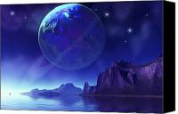 Land Feature Canvas Prints - Cosmic Seascape On Another World Canvas Print by Corey Ford