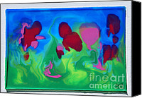 Blue Flowers Reliefs Canvas Prints - 3-D Poured Edges Canvas Print by Ruth Collis