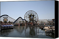 Disneyland Canvas Prints - Ferris Wheel and Roller Coaster - Paradise Pier - Disney California Adventure - Anaheim California - Canvas Print by Wingsdomain Art and Photography