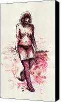 Fantasy Fairy Drawings Canvas Prints - Figure Study Canvas Print by Rachel Christine Nowicki