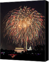 4th July Canvas Prints - Fireworks over Washington DC on July 4th Canvas Print by Steve Heap