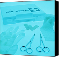 Bandages Canvas Prints - First-aid Kit Canvas Print by Lawrence Lawry