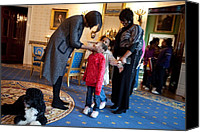First Ladies Canvas Prints - First Lady Michelle Obama Greets Canvas Print by Everett