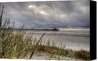 White Seagull Canvas Prints - Folly Beach Pier  Canvas Print by Dustin K Ryan
