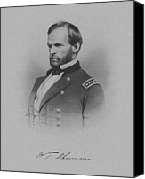 Between Mixed Media Canvas Prints - General William Tecumseh Sherman Canvas Print by War Is Hell Store