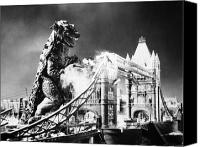Ruin Photo Canvas Prints - Godzilla Canvas Print by Granger