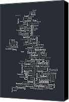 Wales Digital Art Canvas Prints - Great Britain UK City Text Map Canvas Print by Michael Tompsett