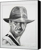 Indiana Drawings Canvas Prints - Indiana Jones Canvas Print by George Ameal Wilson