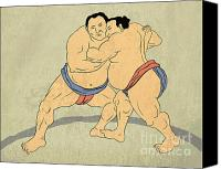 Sumo Wrestler Canvas Prints - Japanese sumo wrestler Canvas Print by Aloysius Patrimonio