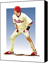 Outfield Digital Art Canvas Prints - Jayson Werth Canvas Print by Scott Weigner