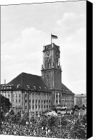 Rathaus Photo Canvas Prints - J.f.k. In Berlin, 1963 Canvas Print by Granger