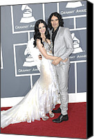 Gray Suit Canvas Prints - Katy Perry, Russell Brand At Arrivals Canvas Print by Everett