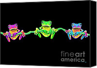 Vine Canvas Prints - 3 Little Frogs Canvas Print by Nick Gustafson