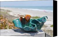 Beaches Ceramics Canvas Prints - Medium Wave Bowl Canvas Print by Gibbs Baum