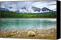 Pure Canvas Prints - Mountain lake in Jasper National Park Canvas Print by Elena Elisseeva