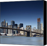 Nyc Photo Canvas Prints - NYC Brooklyn Bridge Canvas Print by Nina Papiorek