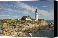 East Coast Canvas Prints - Portland Head Lighthouse Canvas Print by Mike McGlothlen