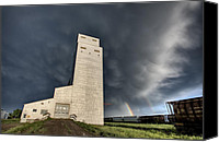 Alberta Landscape Canvas Prints - Prairie Grain Elevator Canvas Print by Mark Duffy