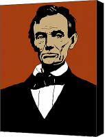 United States Mixed Media Canvas Prints - President Lincoln Canvas Print by War Is Hell Store