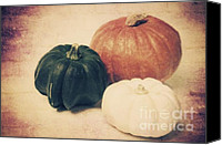 Red Cross Mixed Media Canvas Prints - 3 Pumpkins Canvas Print by Angela Doelling AD DESIGN Photo and PhotoArt