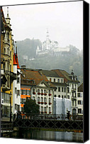 Hotel Digital Art Canvas Prints - Rainy Day in Lucerne Canvas Print by Linda  Parker