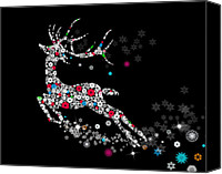 Illustration Canvas Prints - Reindeer design by snowflakes Canvas Print by Setsiri Silapasuwanchai