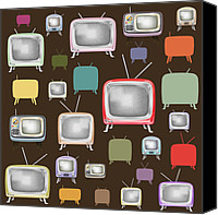 Television Canvas Prints - retro TV pattern  Canvas Print by Setsiri Silapasuwanchai