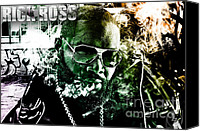 Hip-hop Canvas Prints - Rick Ross Canvas Print by The DigArtisT