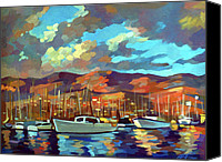 Shore Mixed Media Canvas Prints - Santa Barbara Canvas Print by Filip Mihail