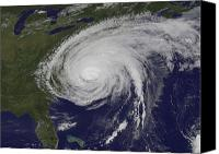 Natural Disasters Canvas Prints - Satellite View Of Hurricane Irene Canvas Print by Stocktrek Images
