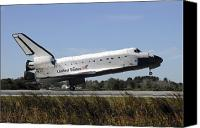 Braking Canvas Prints - Space Shuttle Atlantis Touches Canvas Print by Stocktrek Images