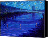 Starry Painting Canvas Prints - Starry Night In Dublin Canvas Print by John  Nolan