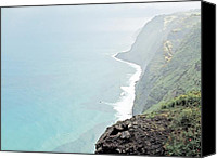 Stormy Drawings Canvas Prints - Stormy Coastline Madeira Island Canvas Print by Joseph Hendrix