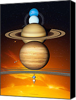Planetary Canvas Prints - Sun And Its Planets Canvas Print by Detlev Van Ravenswaay