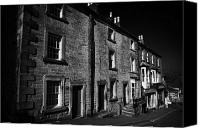 Hill Town Canvas Prints - terraced houses on the hill in church street Bakewell market town in the high Peak District Canvas Print by Joe Fox