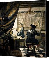 Chandelier Canvas Prints - The Artists Studio Canvas Print by Jan Vermeer