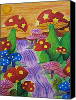 Flora Pastels Canvas Prints - The Enchanted Mushroom Forest Canvas Print by Adam Wai Hou