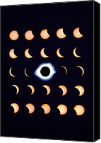 Solar Eclipse Canvas Prints - Timelapse Image Of A Total Solar Eclipse Canvas Print by Dr Fred Espenak