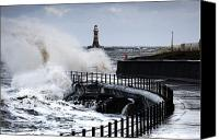 Ocean Front Landscape Canvas Prints - Waves Crashing, Sunderland, Tyne And Canvas Print by John Short